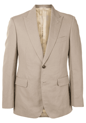 Gieves & Hawkes single-breasted fitted blazer - NEUTRALS