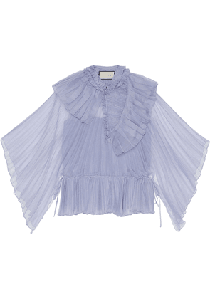 Gucci ruffled collar pleated blouse - PURPLE