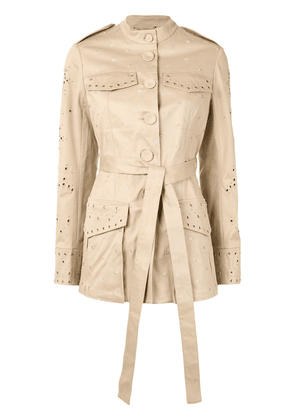 Erdem embroidered belted jacket - Brown