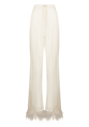 Alanui sheer feather-trimmed trousers - NEUTRALS