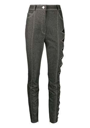 David Koma side cut-out high rise skinny jeans - Grey