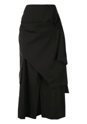 Enföld draped A-line midi skirt - Black