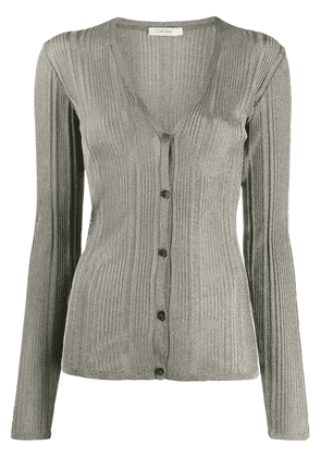 The Row ribbed fine knit cardigan - Metallic