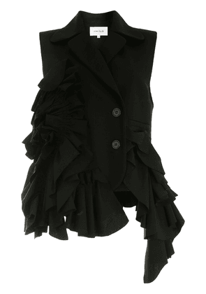 Enföld sleeveless ruffled blazer - Black