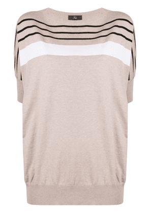 Fay striped cotton knitted top - NEUTRALS