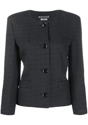 Boutique Moschino crocodile print fitted jacket - Black
