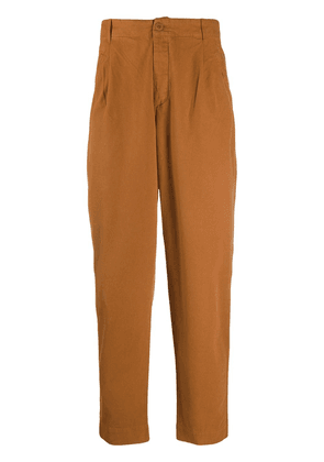 Folk pleated tapered leg trousers - Brown