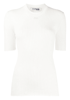 Courrèges embroidered logo ribbed knit jumper - White
