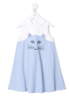 Charabia cat print dress - Blue