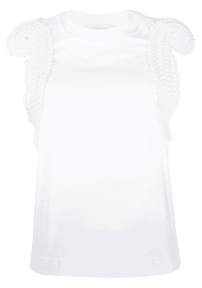 Cédric Charlier knitted trim vest top - White