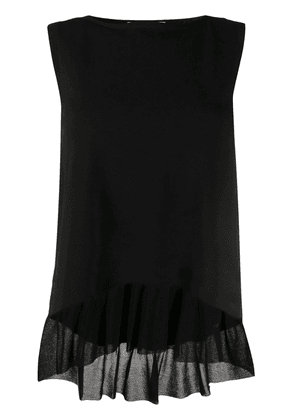 D.Exterior ruffled hem knitted top - Black