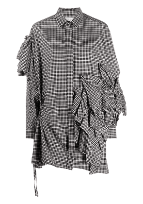 Enföld ruffle detail checkered shirt - Black