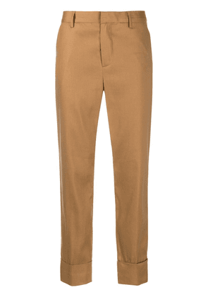 Closed mid-rise cropped trousers - Brown