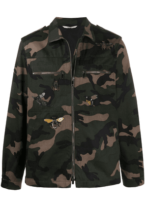 Valentino camouflage-print embroidered jacket - Green