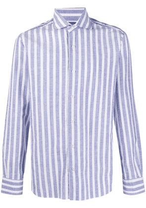 Barba cotton striped long sleeved shirt - White