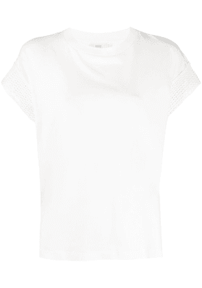 Closed knitted trim crew neck T-Shirt - White