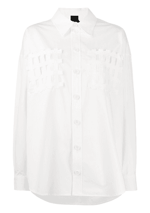 Bernhard Willhelm grid appliqués oversized shirt - White