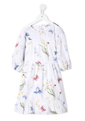 Monnalisa butterfly print poplin dress - White