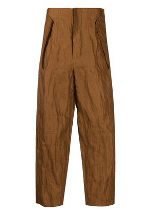 Gentry Portofino crinkle-effect cropped trousers - Brown