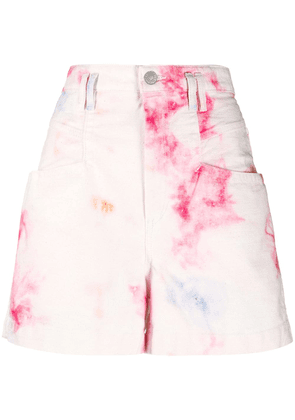 Isabel Marant bleached high-waisted denim shorts - White