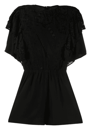 Isabel Marant ruffled lace playsuit - Black