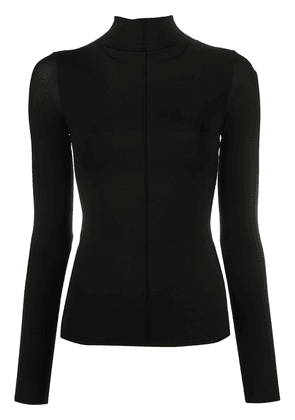 The Row fitted sheer sleeve top - Black