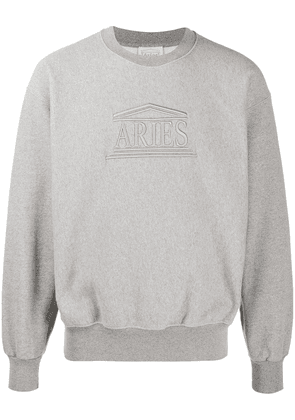 Aries embroidered logo jumper - Grey