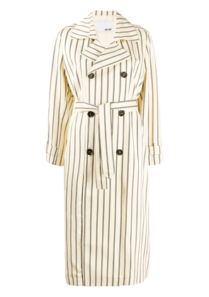 Each X Other Retro striped trench coat - NEUTRALS