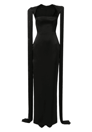 Alex Perry Dallas fringed-sleeve gown - Black
