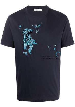 Valentino sequinned spaceman T-shirt - Blue