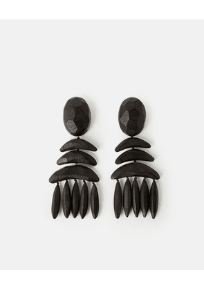 Stella McCartney Black Wooden Earrings, Women's, Size OneSize