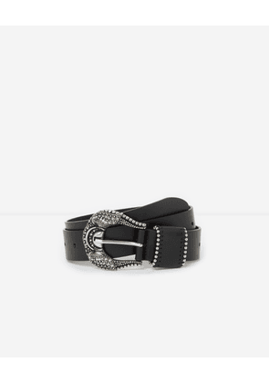The Kooples - Black women's leather belt with large buckle - WOMEN