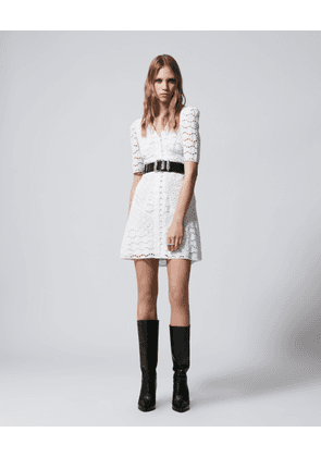 The Kooples - Ecru short lace dress with buttons - WOMEN