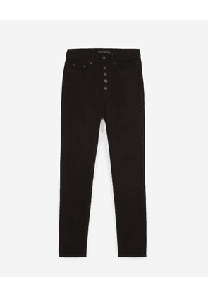 The Kooples - Slim-fit black jeans with buttons - WOMEN
