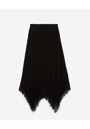 The Kooples - Pleated long black skirt with lace - WOMEN