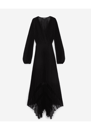 The Kooples - Black long flowing dress with lace detailing - WOMEN