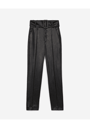 The Kooples - Belted leather-effect flowing black trousers - WOMEN