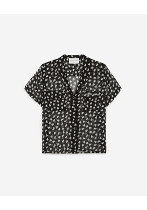 The Kooples - Short-sleeve long dress shirt, pockets, heart - WOMEN