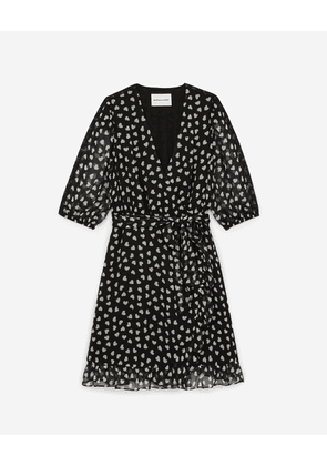 The Kooples - Black wraparound short frilly dress w/hearts  - WOMEN