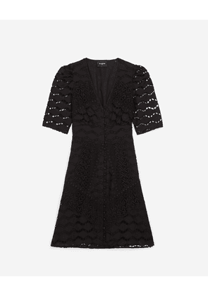 The Kooples - Short buttoned black lace dress - WOMEN