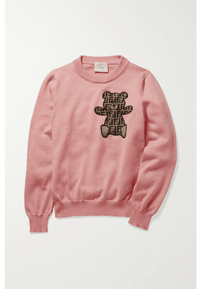 Fendi Kids - Embroidered Cotton, Cashmere And Wool-blend Sweater - Pink