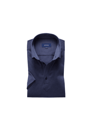 Eton Blue Polo Popover Shirt - Short Sleeved - Slim Jersey Fit