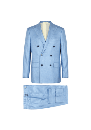 FRÈRE Light Blue Double-breasted Silk Suit