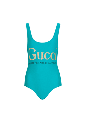 Gucci Turquoise Logo-print Swimsuit