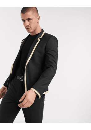 ASOS DESIGN skinny blazer with gold detail and buttons in black