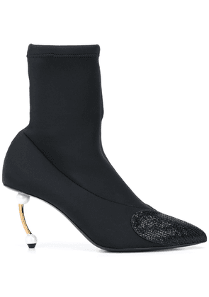 Coliac pearl-heel sock ankle boots - Black
