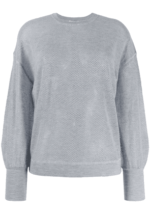Eres crew neck perforated cashmere sweater - Grey