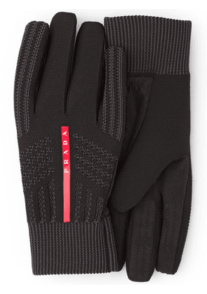 Prada logo knitted gloves - Black
