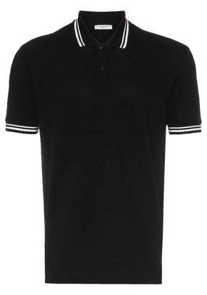 Valentino debossed logo stamp cotton polo shirt - Black