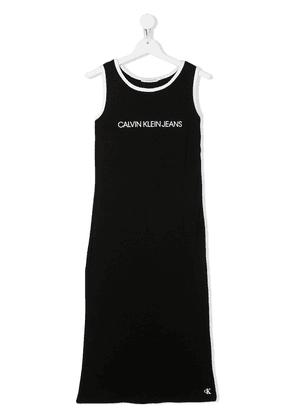 Calvin Klein Kids TEEN logo printed tank top dress - Black